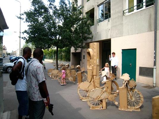 Station Velib' en carton à Lyon