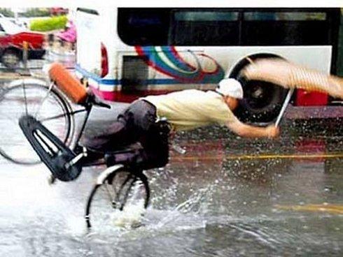 Vélo les pieds dans l'eau